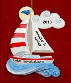Peace Out on the Water: Sailing Personalized Christmas Ornament
