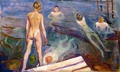 Edvard Munch (Norwegian 1863–1944) [Expressionism, Symbolism] Bathing Boys, 1894.