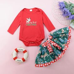 """high quality #cotton blend and tulle, #soft #comfortable and breathable, no any harm to your baby's skin Super #cute and funny """"my 1st #Christmas"""" print, long sleeve #romper,red tutu bowknot #skirt, headband,leg warmers. It's sure to make your little #princess very lovely and dazzling Suitable:#available for sweet girls frist christmas, #0-3 months, #3-6 months, #6-9 months, #9-12 months My First Christmas Outfit, Christmas Skirt, Christmas Deer, Casual Skirts, Casual Outfits, Suit Fashion, Fashion Outfits, Baby Girl Newborn, Baby Girls"""