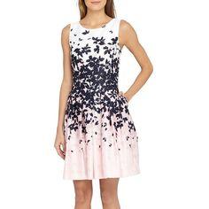 Petite Women's Tahari Floral Jacquard Fit & Flare Dress ($138) ❤ liked on Polyvore featuring dresses, petite, pink floral dress, petite cocktail dress, fit and flare cocktail dress, pink fit-and-flare dresses and tahari dresses