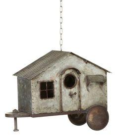 This Galvanized Metal Trailer Birdhouse. is perfect! #zulilyfinds