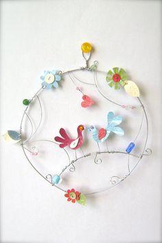 Love birds round wall art Garden hoop wire by littlebigtopstudio on Etsy
