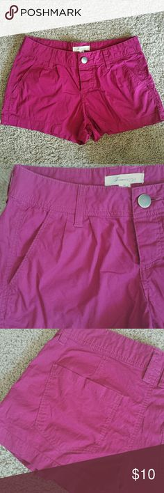 """Forever 21 Magenta Shorts My daughter came for a visit with a bag full of her """"too small"""" clothes to sell for her. These are a great magenta color and they're made of lightweight cotton stretch fabric! Excellent condition, looks like they were not worn at all. 96% cotton/4%spandex Forever 21, size 24. 13.75"""" across top of waistband, 10.5"""" side length,. 2"""" inseam, 8.5"""" rise. Forever 21 Shorts"""