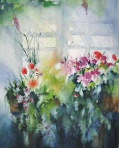 Abstract Watercolor Flower Print Art of Original by NancyKnightArt, $20.00