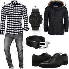 Outfit mit kariertem Kayhan Hemd, Fossil Armbanduhr, Geographical Norway Winterjacke, A. Salvarini Jeans, Macosta Ledergürtel und Lloyd Schnürschuhen.