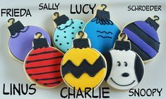 Charlie Brown cookies!!! This could be made non-christmassy if you just made them on circles instead of ornaments.