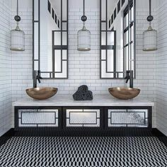 Black and white bathroom color schemes are always classic elegant and opulent. Bring in some brass or copper fixtures to take it to a grand status ! #luxurylife #luxurylifestyle #architecture #architecturelovers #archilovers #archidaily #architexture #architect #instalike #instagood #instagram #instapic #interiordesign #interior #interiordecor #interiorstyling #cerastonetiles #woollahra #sydney #tiles #design #designer #classic #opulent #elegant #follow4follow #bathroom #tileporn #bondi #blackan Bungalow Bathroom, Condo Bathroom, Art Deco Bathroom, White Bathroom, Bathroom Ideas, Baden, Bathroom Color Schemes, Bathroom Colors, 1920s Interior Design