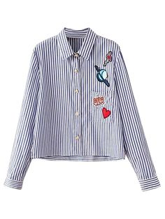 Blue Stripe Patches Detail Long Sleeve Shirt