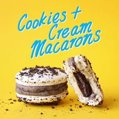 Macarons with crushed Oreos on top and a white choc/Oreo filling with surprise cookie in the centre.