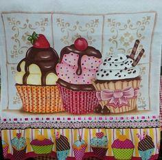 Resultado de imagem para pintura em tecido riscos cupcake
