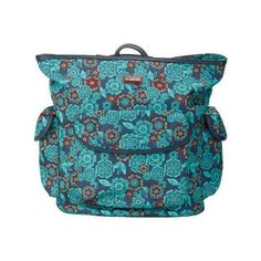 Women's Hadaki by Kalencom City Backpack - Floral Easy Closure ($84) ❤ liked on Polyvore featuring bags, backpacks, none, tote handbags, blue floral backpack, blue tote, blue tote handbags and floral tote bag
