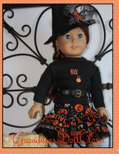 Halloween is getting close and this cute outfit is perfect for any 18 inch doll. You have choices with this offer. The following is available and you may choose from three combinations.  The following is a detailed description of each item:    1: The skirt is made of a cotton fabric with lettering on the overskirt. The gathered underskirt is a tulle with spider webs and orange, sparkly dots on the fabric. There is a yoke with an elastic waist from another cotton fabric that has pumpkins and…