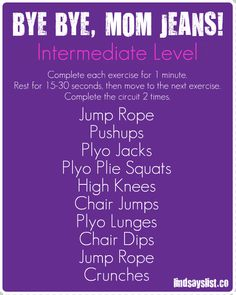 Bye Bye, Mom Jeans Intermediate workout via @lindsays_list and @mom365 -- no excuses!! #FitFluential