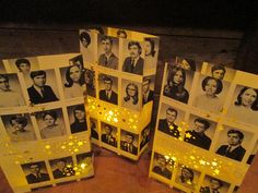 Old school Reunion decorations! Pictures shown are from custom orders I did using photocopied yearbook pages. Glossy photocopies look awesome! That way you dont have to use your actual yearbook pages! Contact me if interested and I will explain how we coordinate getting your pages to me.