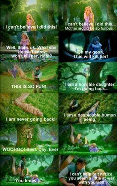 Tangled - Repunzel and Flynn Rider funny scene. Disney Pixar, Film Disney, Disney And Dreamworks, Disney Songs, Disney Art, Humor Disney, Disney Quotes, Funny Disney Movie Quotes, Funny Disney Pictures