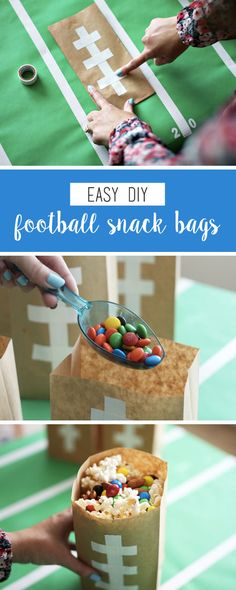 Whether you choose to serve them up as a festive homemade gift or as a kid-friendly treat, these Easy DIY Football Snack Bags couldn't be more perfect for your game day party. Fill each themed craft with your favorite sweet and salty snacks—like popcorn a Game Day Snacks, Snacks Für Party, Game Day Food, Football Treats, Football Food, Football Parties, Football Desserts, Football Bags, Tailgate Parties