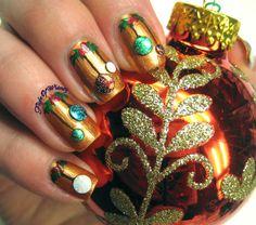 Ornaments #gold #studs nails #nailart #nailpolish #naillacquer #polishaddict - bellashoot.com #glitter #shimmer #holidaynails