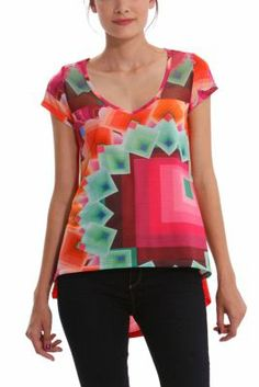 Desigual women's Yury T-shirt with tulle detailing. The print is inspired by the Margaret dress worn by top model Adriana Lima on the catwalk at the 080 Barcelona Fashion show.