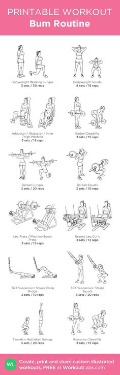 Bum Routine – illustrated exercise plan created at WorkoutLabs.com • Click for a printable PDF and to build your own #customworkout