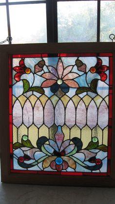 Antique Stained Glass Window w Distinct Rippled Glass Jewels Flowers Pattern | eBay