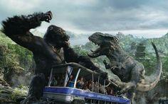 King Kong 3D Ride In Universal Studios Trip: Kong Vs. The V-Rexes Sceene ( On Skull Island ) !!