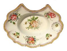 Barber's Basin, c.1770 Barber's bowl, c.1770 Un-glazed earthenware, coloured enamels French, Sceaux
