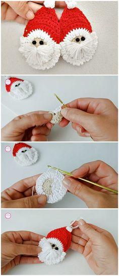 Crochet Santa Applique For Christmas - Crochet - Knitting Tutorials And Patterns Crochet Christmas Ornaments, Christmas Crochet Patterns, Crochet Stitches Patterns, Christmas Items, Christmas Crafts, Crochet Santa, Easy Crochet, Free Crochet, Crochet Bookmarks