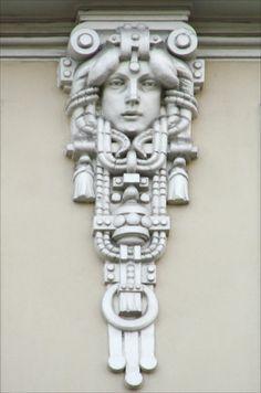 Jugendstil (Art Nouveau) building in Riga, Latvia. Design Art Nouveau, Motif Art Deco, Architecture Art Nouveau, Architecture Details, Art Sculpture, Sculptures, Wassily Kandinsky, Drawing Simple, Jugendstil Design