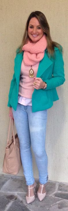 Look de trabalho - look do dia - moda corporativa - look de inverno - winter outfit - fall outfit - work outfit - Candy color - verde água - Rosinha - green and pink light - casual friday - jeans - Valentino inspired - Scarpin