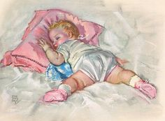 All Tuckered Out Calendar Art. Maud Tousey Fangel