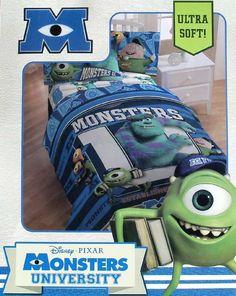 monsters university bedding | Pixar Monsters University Blue Twin Comforter Sheets 4pc Bedding ...