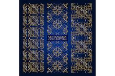 Set of 3 golden lace pattern blue-2 by nastyaaroma on @creativemarket