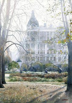 """""""William Rakmana's house in Warsaw"""" """"Kamienica Wilhelma Rakmana w Warszawie"""" ByGrzegorz Wrobel from Poland (b. 1983) [Architect and Watercolor Artist] - watercolor"""