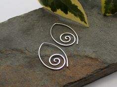 Ammonite Open Pointed Spiral Tribal Earrings - 1mm Sterling Silver - Sterling silver