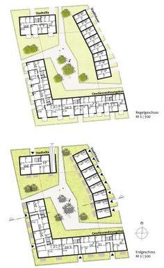 Petersen Pörksen Partner with Arbos Freiraumplanung - Architecture Architecture Concept Diagram, Urban Architecture, Residential Architecture, Design Exterior, Facade Design, Masterplan, Urban Design Diagram, Architectural Section, Site Plans