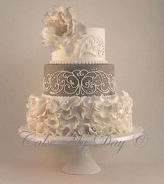 "Tartas de boda - Wedding Cake - ""Elegance"" ~ Wedding Cake ~ Ruffles, crystals, piping and color ""tipped"" Sugar Rose Elegant Wedding Cakes, Beautiful Wedding Cakes, Gorgeous Cakes, Wedding Cake Designs, Amazing Cakes, Tier Wedding Cakes, Elegant Wedding Colors, Dream Wedding, Small Wedding Cakes"