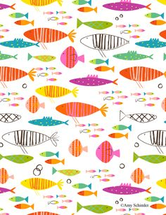 Rainbow Fish Fabric - Rainbow Fish By Redfish - Rainbow Summer Fish Nursery Decor Cotton Fabric By The Metre With Spoonflower Surface Pattern, Pattern Art, Surface Design, Pattern Design, Fish Patterns, Pretty Patterns, Textile Patterns, Paper Scrapbook, Motifs Animal