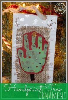 Homemade Handprint Tree Ornament.
