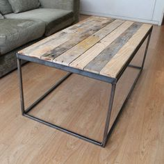 steel and reclaimed timber coffee table by gas&air studios | notonthehighstreet.com