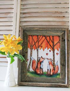 Foxy Love Woodland Art Print 5x7