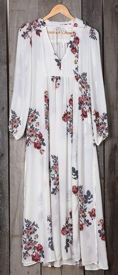 White Floral Pattern V-neck Fashion Cotton Maxi Dress