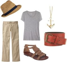 Jennifer Aniston casual outfit 2 - Khaki pants, grey scoop neck tee, sandals, belt, fedora hat