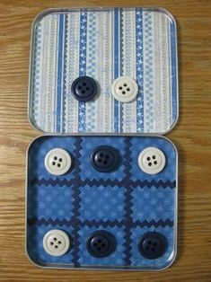 Tic-tac-toe travel game: reuse a tin cd holder, and buttons or bottlecaps with magnets on the back.