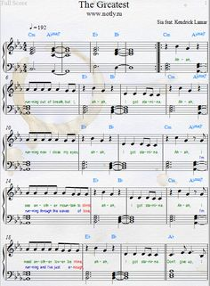 Sia — The Greatest Download PDF Piano Sheet Music without Kendrick Lamar