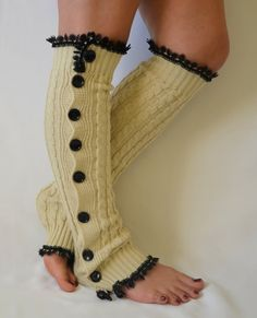 Ecru slouchy open button down lace leg warmers knit lace leg warmers boot socks women's fashion knee high socks