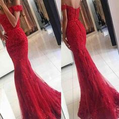 Lace Mermaid Prom Dress,Off Shoulder Red Prom Dresses,Charming Prom Dresses,Evening Dress