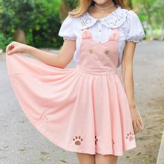 Kitty Cat Paws Sweet Suspender Dress! Pastel pink fit for a princess. Neko lovers unite - this dress is a must!  So kawaii! 100% FREE Shipping Worldwide! Tons more Kawaii, Lolita, Harajuku, Fairy-Kei, Larme, Pastel-Goth, Cosplay, Magical Girl, and Harajuku Japan Fashion Goodies at www.KawaiiBabe.com