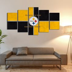 Pittsburgh steeler Logo Football 5 Pieces Canvas Wall Art HD Printed High Quality Canvas Wall Art of your Favorite Teams