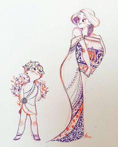 New design illustration flower ideas Character Design Animation, Character Design References, Character Drawing, Kunst Inspo, Art Inspo, Art And Illustration, Fantasy Kunst, Fantasy Art, Art Sketches