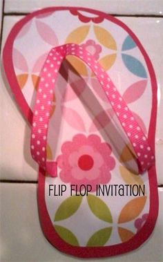 The Invitation is the First Impression of the Party. : This Flip Flop invitation can be used for any Luau, Beach, or Nautical Party Themes. Its made of card stock and ribbon.